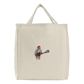 Lacrosse Player Embroidered on Bag Embroidered Bags