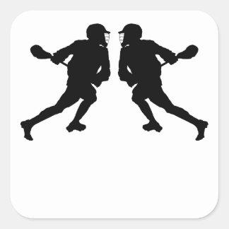 Lacrosse Player Mirror Image Square Sticker