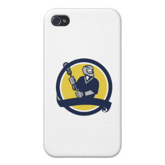 Lacrosse Player Ribbon Circle Retro Cover For iPhone 4