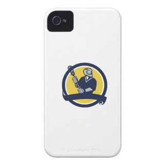 Lacrosse Player Ribbon Circle Retro iPhone 4 Case