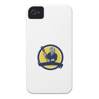 Lacrosse Player Ribbon Circle Retro iPhone 4 Case-Mate Cases