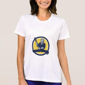 Lacrosse Player Ribbon Circle Retro T-Shirt