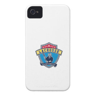 Lacrosse Player Ribbon Shield Retro Case-Mate iPhone 4 Case