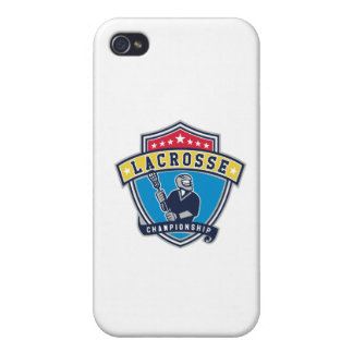 Lacrosse Player Ribbon Shield Retro iPhone 4/4S Covers