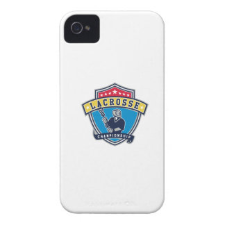 Lacrosse Player Ribbon Shield Retro iPhone 4 Covers