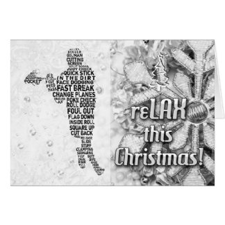 Lacrosse Player Typeography reLAX Christmas Card