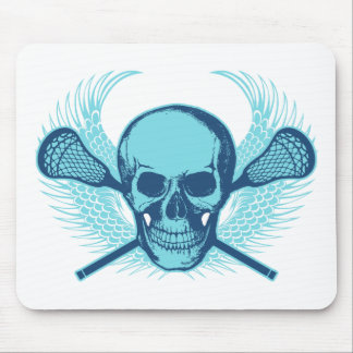 Lacrosse Skull - Blue Mouse Pad