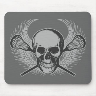 Lacrosse Skull - Gray Mouse Pad