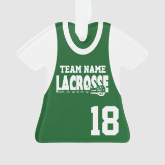 Lacrosse Sports Jersey Green with Photo Ornament