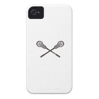 Lacrosse Stick Woodcut iPhone 4 Case-Mate Cases
