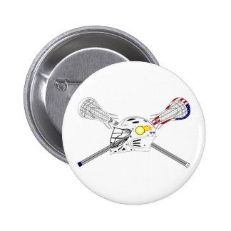 Lacrosse sticks with helmet 6 cm round badge