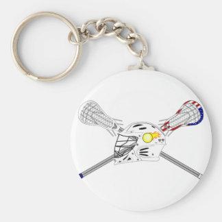 Lacrosse sticks with helmet key ring