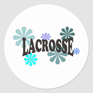 Lacrosse with Blue Flowers Round Sticker