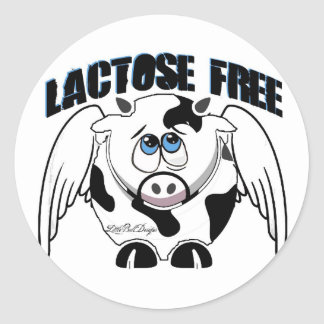 Lactose Free Cow Classic Round Sticker