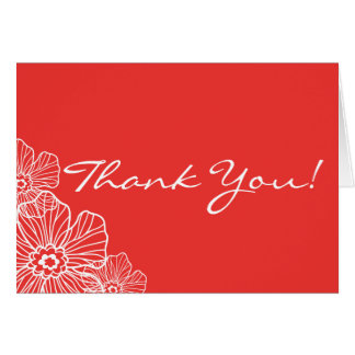 Lacy Floral Thank You Note Card | red