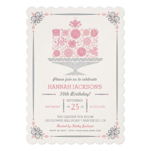 Lacy Flower Birthday Cake Invitation Custom Invite
