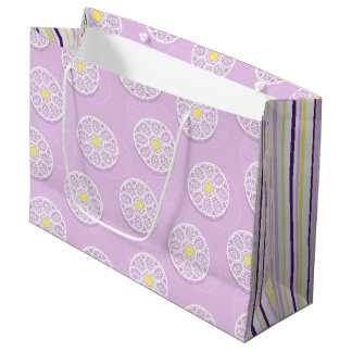 Lacy Flowers & Stripes Pink Gift Bag