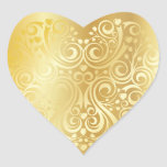 Lacy Gold Heart Sticker