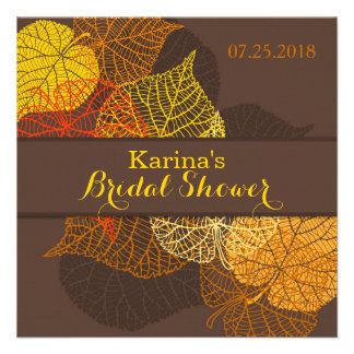 Lacy golden autumnal leaves Bridal Shower Personalized Invite