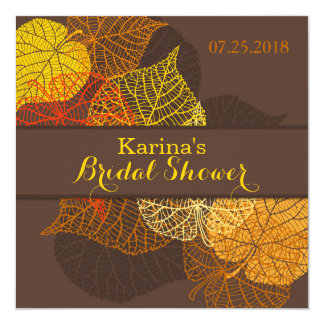 "Lacy golden autumnal leaves Bridal Shower 5.25"" Square Invitation Card"