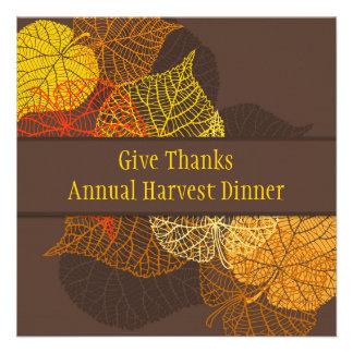 Lacy golden autumnal leaves Thanksgiving Dinner Custom Invitations