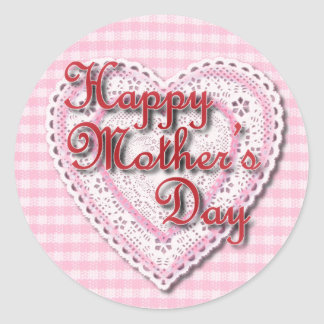 Lacy heart for Mom on Mother's Day Round Sticker