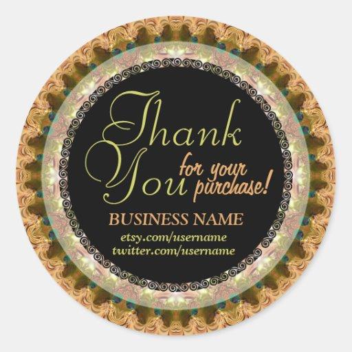 Lacy Mocha Business Thank You Sticker