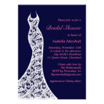 Lacy Navy Bridal Shower Invitation