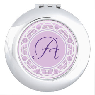 Lacy Pink Flower Monogram Compact Vanity Mirror