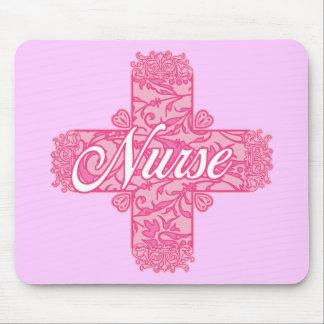 Lacy Pink Nurse Cross Mouse Pad