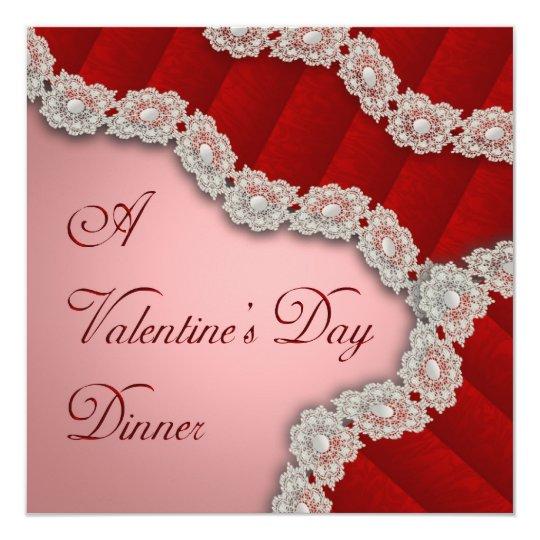 Lacy Red Damask Valentine's Dinner Invitation