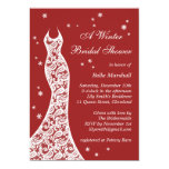 Lacy Red Winter Bridal Shower Invitation