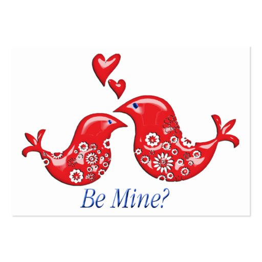 Lacy Valentine Love Birds Card Hand Out for Kids Business Cards