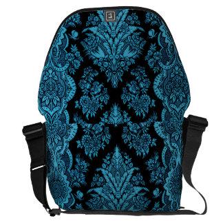 Lacy Vintage Floral - Bright Aqua on Black Courier Bags