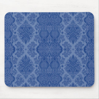 Lacy Vintage Floral in Medium Blue Mouse Pad