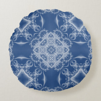 Lacy white and blue fractal pattern round cushion