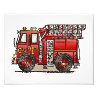 Ladder Fire Truck Photographic Print