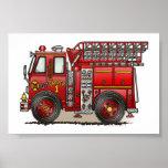 Ladder Fire Truck Poster