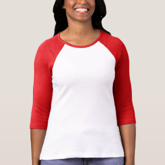 Ladies 3/4 Sleeve Raglan White/Red T-Shirt