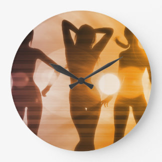 Ladies at the Beach with Silhouette Clock