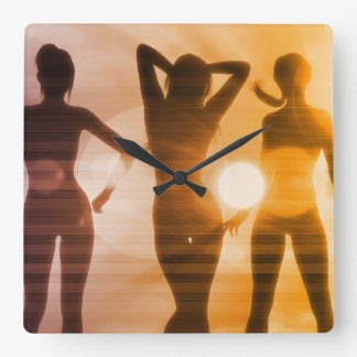 Ladies at the Beach with Silhouette Wall Clock