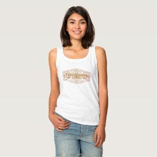 Ladies Basic White Tank Logo Gold