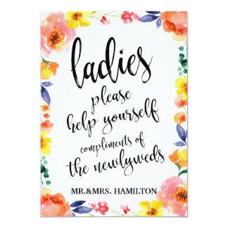 Ladies Bathroom Basket Affordable Boho Floral Sign Card