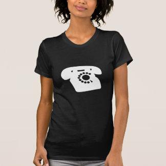 Ladies Black Retro Telephone Tshirt