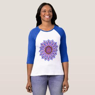 Ladies Blue and White Mandala 3/4 Sleeve T-Shirt