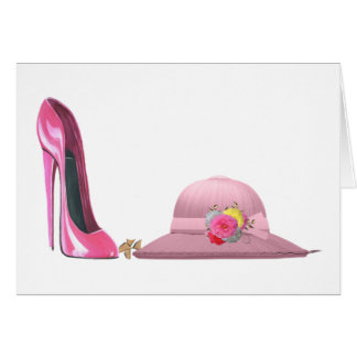 Ladies Day! Pink stiletto shoe and hat art Card
