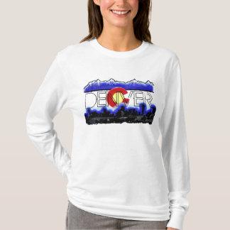 Ladies Denver Colorado flag skyline hoodie