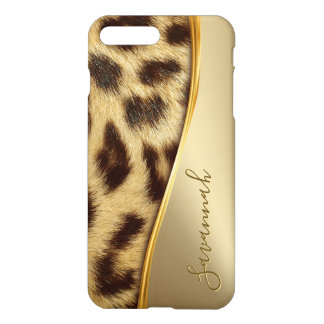 Ladies Elegant Faux Leopard Skin Monogram Gold iPhone 8 Plus/7 Plus Case