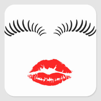 Ladies Eye Lashes and LipStick Kiss Square Sticker