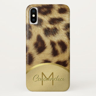 Ladies Faux Leopard Fur Monogram Gold Emossed iPhone X Case